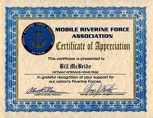 Your home page awards and medals certificate of appreciation from albert b moore president mobile riverine force association 22 october 1997 yadclub Image collections